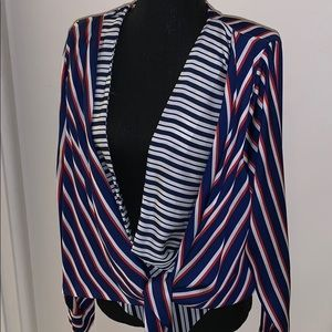 Zara Red White And Blue Open Front Bodysuit XL